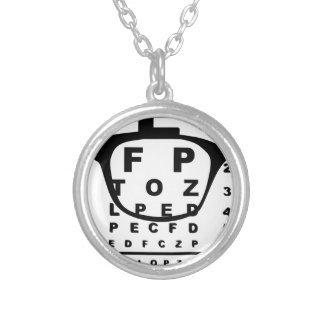 Blurr Eye Test Chart Silver Plated Necklace