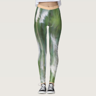 Blurred grass leggings with a peach rim