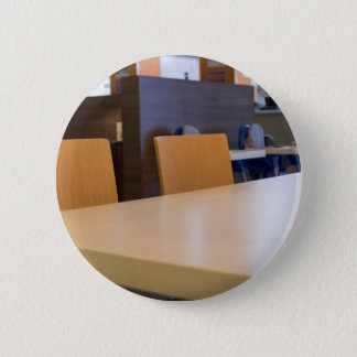 Blurred image of the interior cafe 2 inch round button