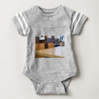 Blurred image of the interior cafe baby bodysuit