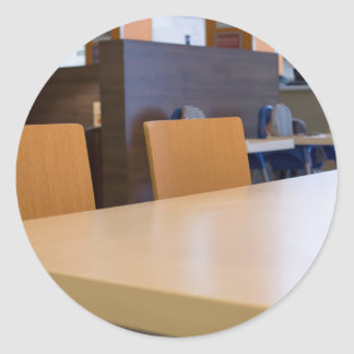 Blurred image of the interior cafe classic round sticker