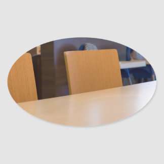 Blurred image of the interior cafe oval sticker