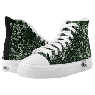 Blurred Lines Black & White Abstract Pattern High Tops