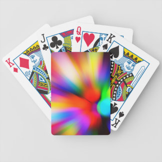 Blurred multi color lights bicycle playing cards
