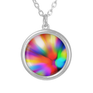 Blurred multi color lights silver plated necklace