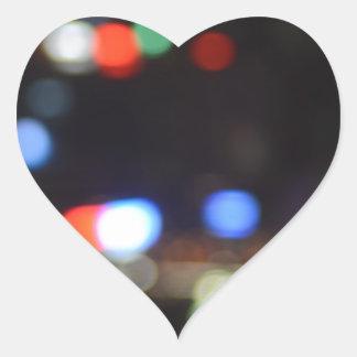 Blurred Night Lights of Hong Kong Heart Sticker
