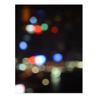 Blurred Night Lights of Hong Kong Postcard
