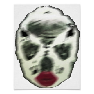 Blurred Skull w/Lips on Canvas Poster