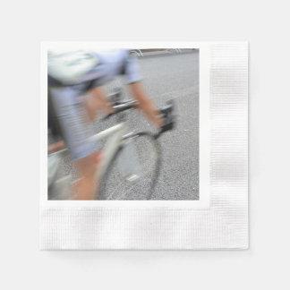 Blurry Cyclist Closeup Paper Napkins