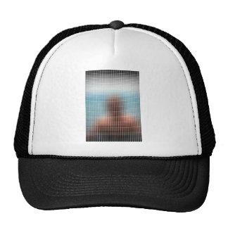Blurry Figure Behind Glass Trucker Hat