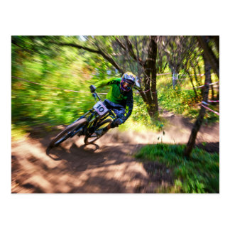 Blurry Forest Dirtbike Racer Postcards