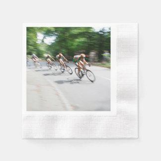 Blurry Racing Bikers Paper Napkin