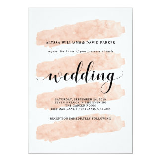 Blush Abstract Stripes | Watercolor Look Wedding Card