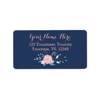 Blush and blue boho return address labels