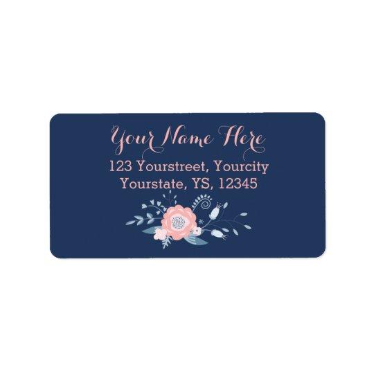 Blush and blue boho return address labels