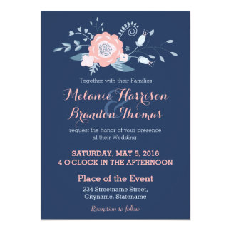 Blush and blue Boho wedding invitations with RSVP
