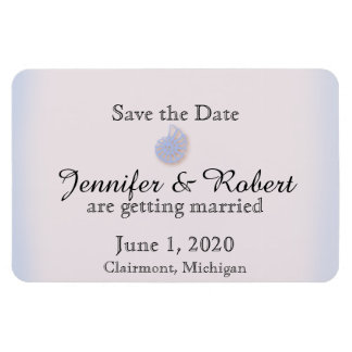 Blush and Blue Flip Flop Wedding Save the Date Magnet