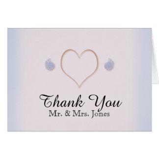 Blush and Blue Flip Flops Beach Wedding Thank You Card