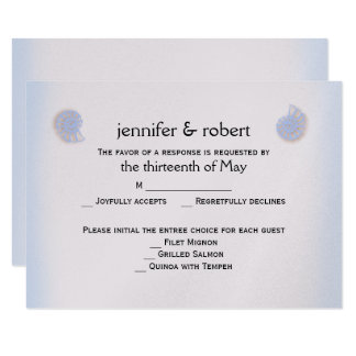 Blush and Blue Flip Flops Wedding Response Card