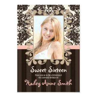"""Blush and Brown Vintage Lace Damask Sweet Sixteen 5"""" X 7"""" Invitation Card"""