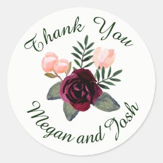 Blush and Burgundy Thank You Sticker