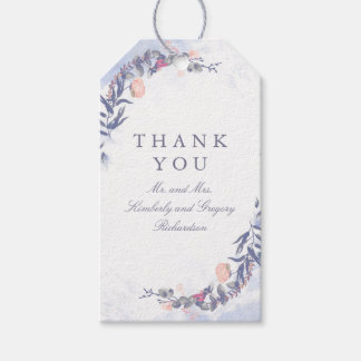 Blush and Dusty Blue Floral Wedding Gift Tags