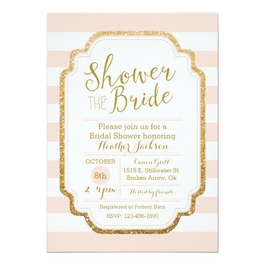 Blush And Gold Bridal Shower Invitation