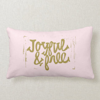 Blush and gold Joyful & Free Lumbar Pillow