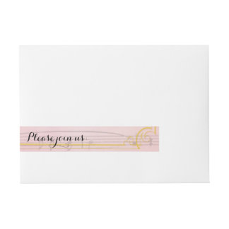 Blush and gold musical labels wraparound address label