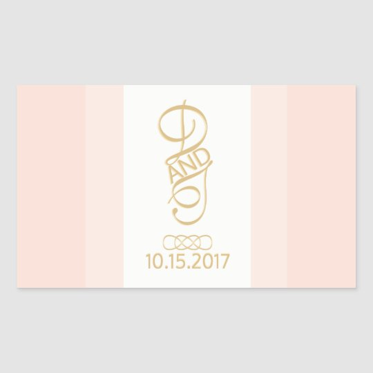 Blush and Gold Rectangle Stickers