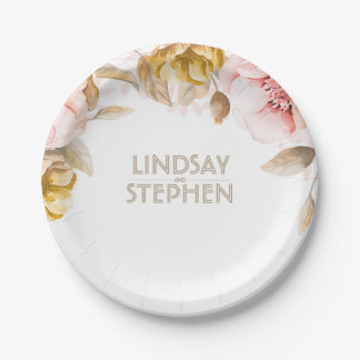 Blush and Gold Watercolor Floral Bouquet Wedding 7 Inch Paper Plate