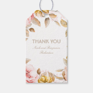 Blush and Gold Watercolor Flowers Elegant Boho Pack Of Gift Tags