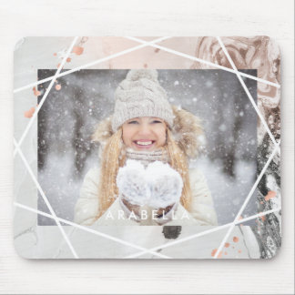 Blush and Gray Marble with Photo | Geometric Mouse Pad