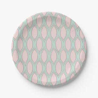 Blush and Mint Modern Geometric Pattern 7 Inch Paper Plate