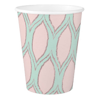 Blush and Mint Modern Geometric Pattern cups Paper Cup
