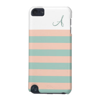 Blush and Mint Striped Monogram iPod Touch 5G iPod Touch (5th Generation) Cases