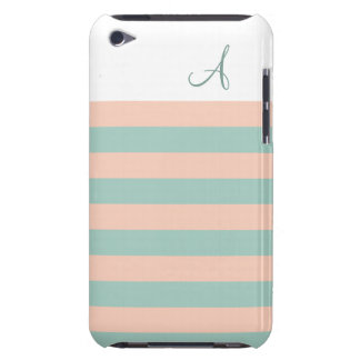 Blush and Mint Striped Monogram iPod Touch Case