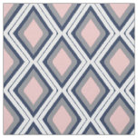 Blush and Navy Diamond Ikat Pattern Fabric