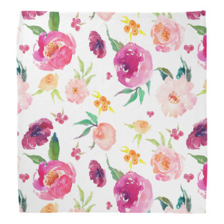 Blush and Pink Watercolor Peonies Pattern Bandana