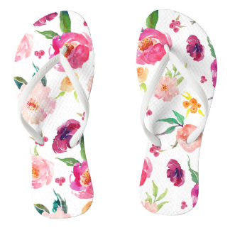 Blush and Pink Watercolor Peonies Pattern Flip Flops