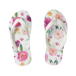 Blush and Pink Watercolor Peonies Pattern Kid's Flip Flops