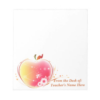 Blush Apple Teacher  From the Desk OF NAME HERE Notepad