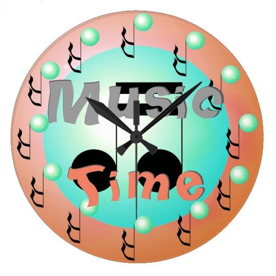 Blush Aqua Musical Notes Music Clock
