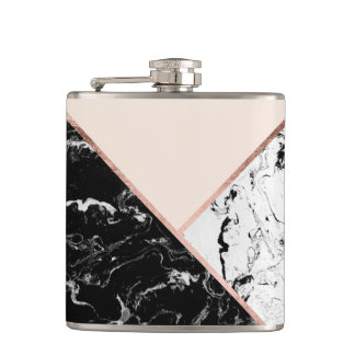 Blush black white marble rose gold color block hip flask