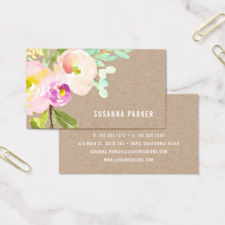 Blush Bloom | Watercolor Floral Kraft Business Card