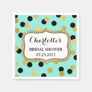 Blush Blue Black Gold Confetti Bridal Shower Paper Napkins