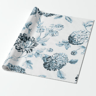 Blush Blue & White Vintage Botanical Floral Toile Wrapping Paper