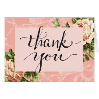 Blush Botanical Vintage Rose Thank You Card