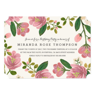 Blush Bouquet Birthday Party Card