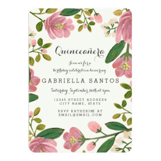 "Blush Bouquet Quinceañera 5"" X 7"" Invitation Card"